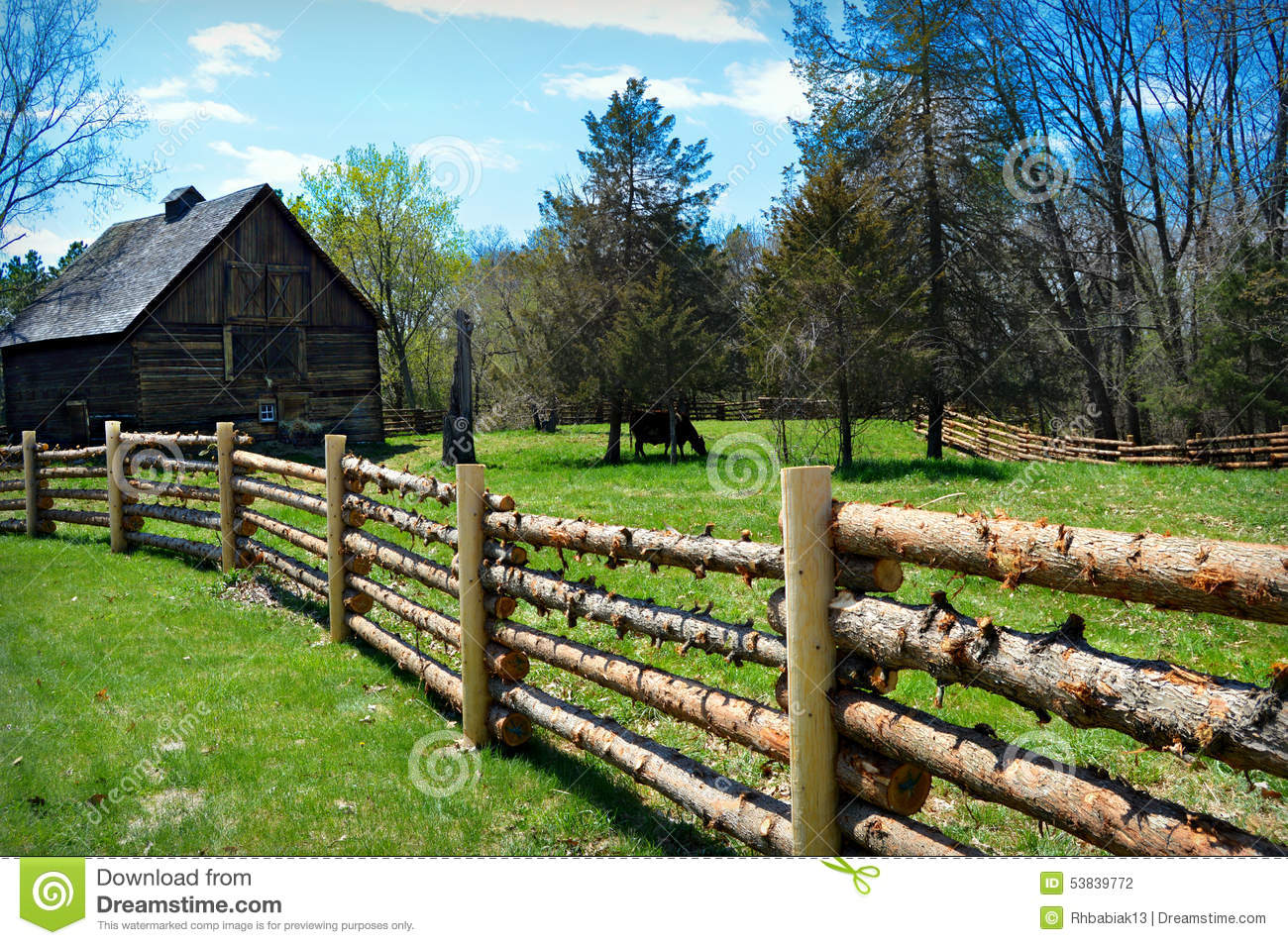 Log Fence Barn Cow Stock Photo 53839772 Megapixl