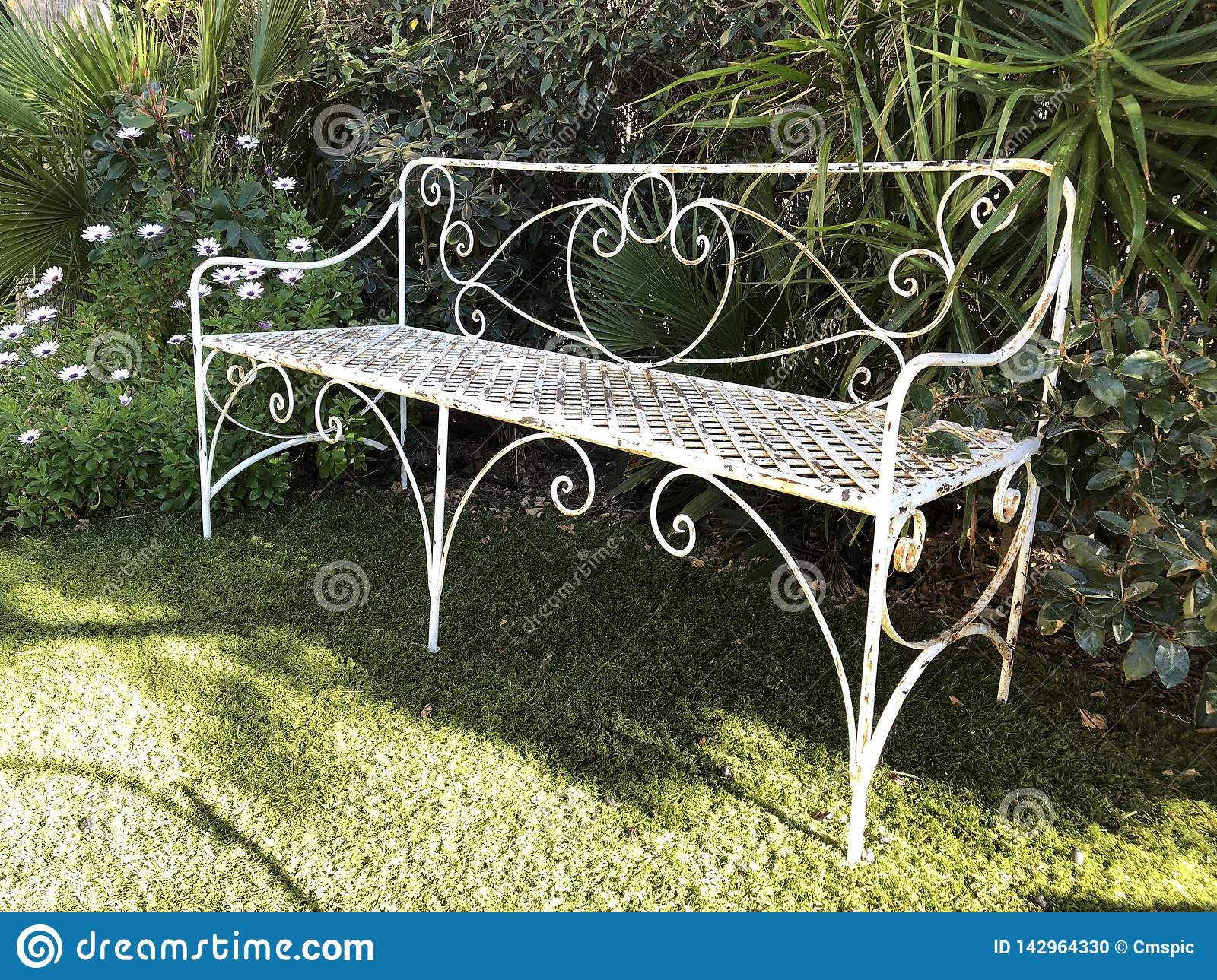 Wondrous Old Garden Bench Stock Photo Image Of Flowers Shade Cjindustries Chair Design For Home Cjindustriesco