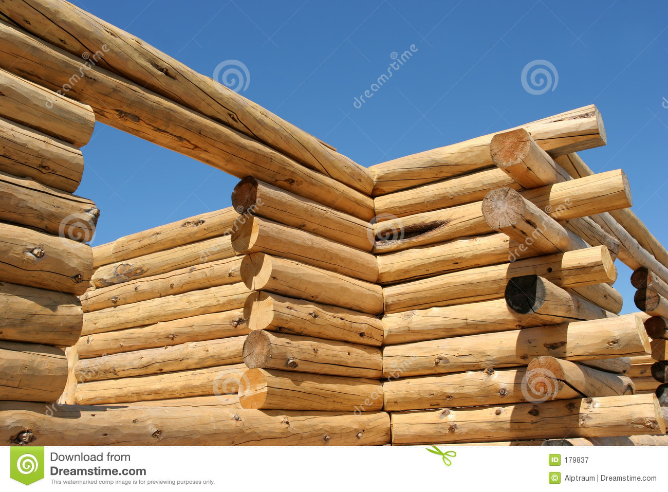Log home construction stock image image of building for Log construction