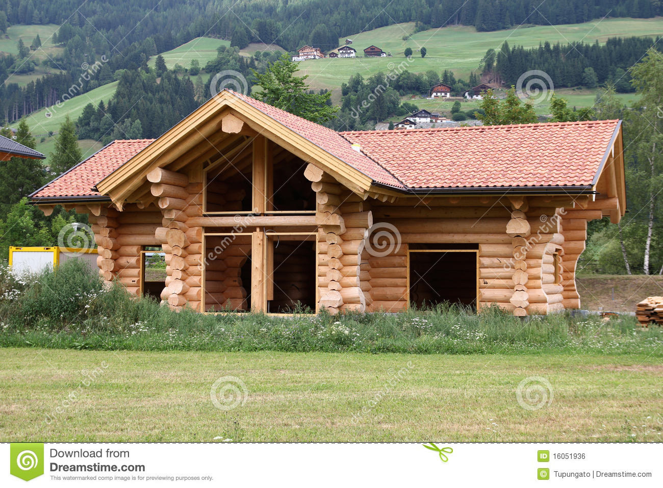 Log house stock photo image of house mountain austria for Log construction
