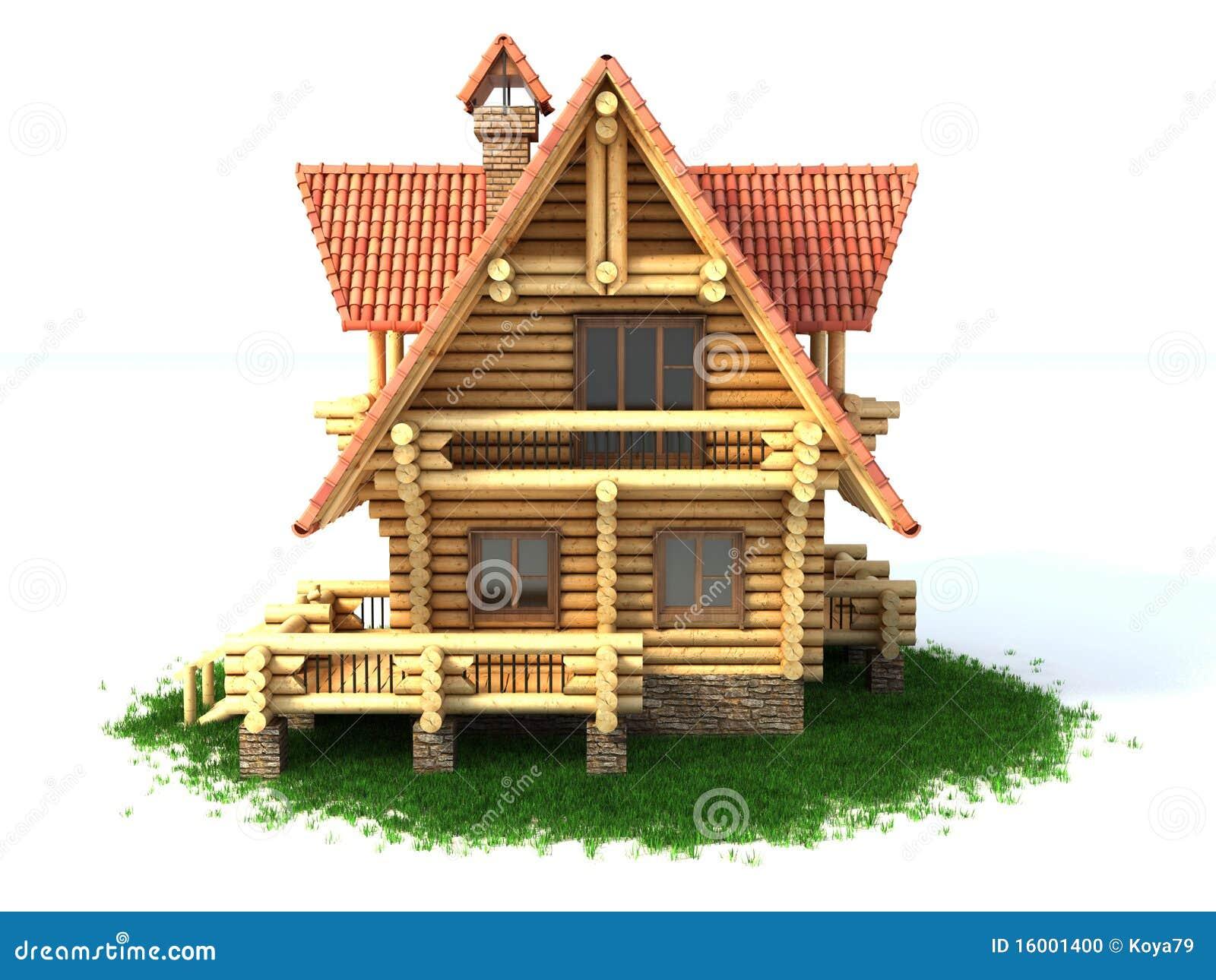 Log House 3d Illustration Rustic Dollhouse