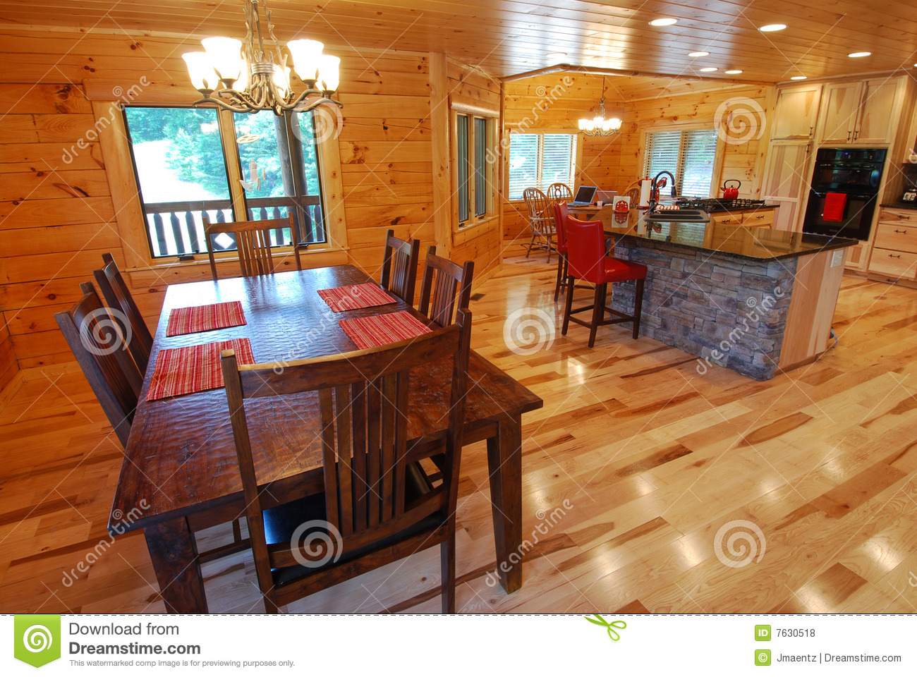 House Kitchen Log House Kitchen And Dining Interior Royalty Free Stock Photos