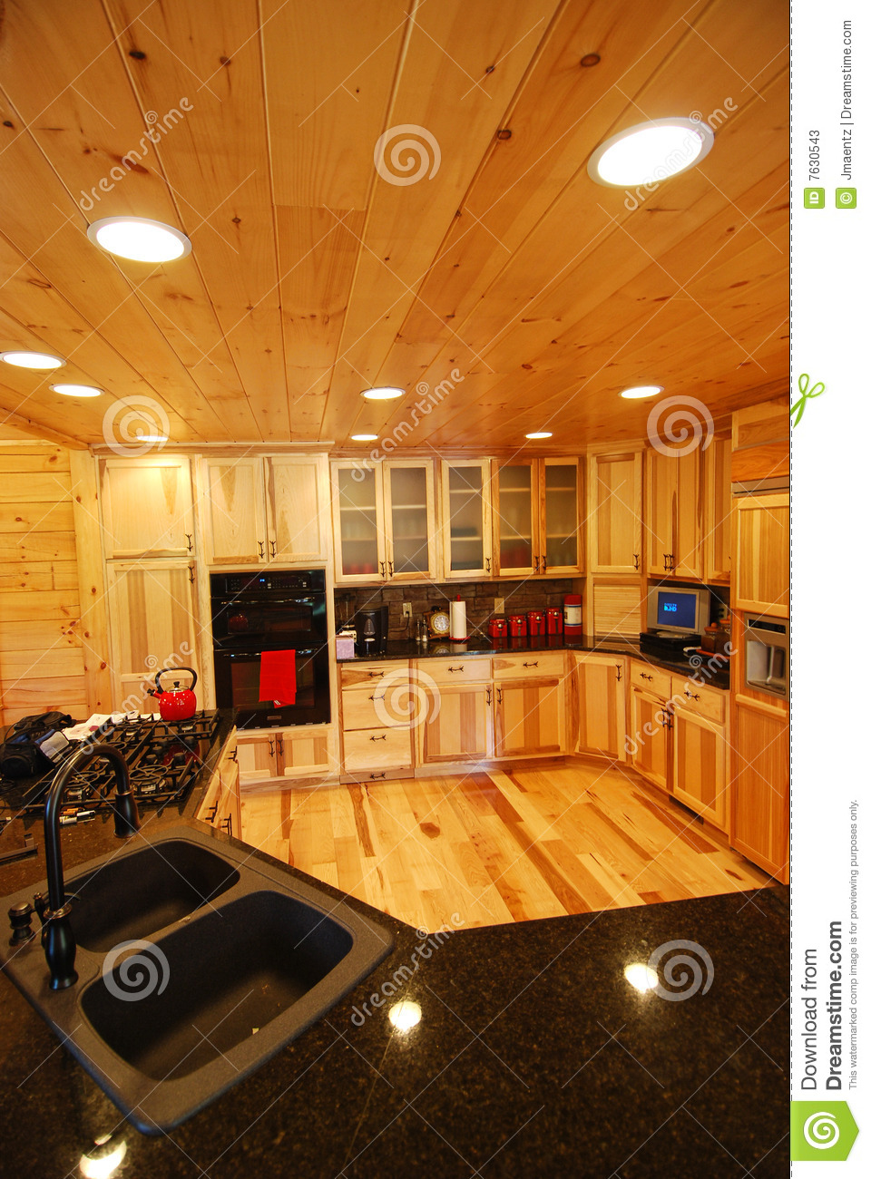 Log house kitchen interior