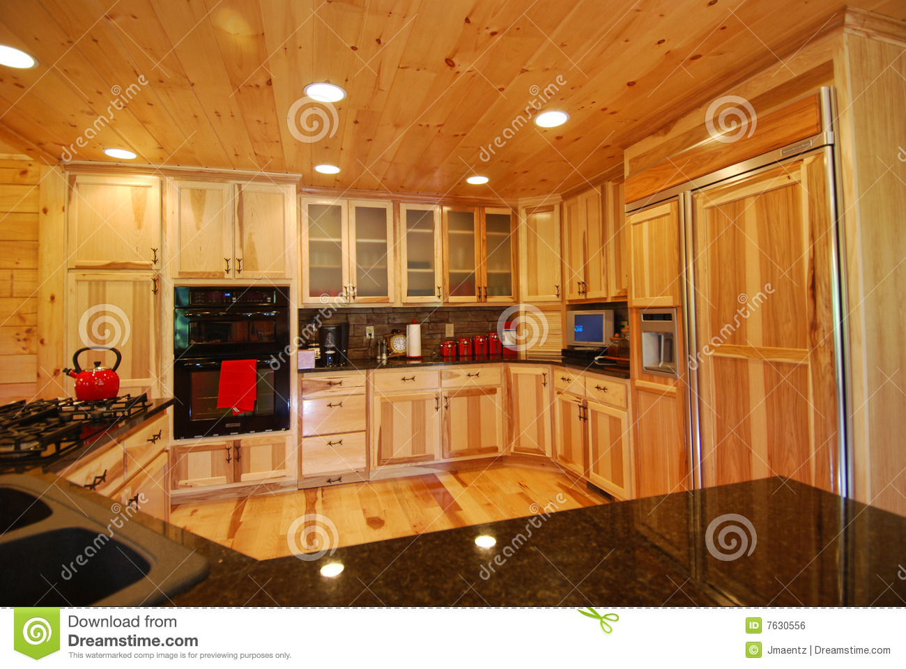 Log house kitchen interior royalty free stock image for Beautiful houses interior kitchen