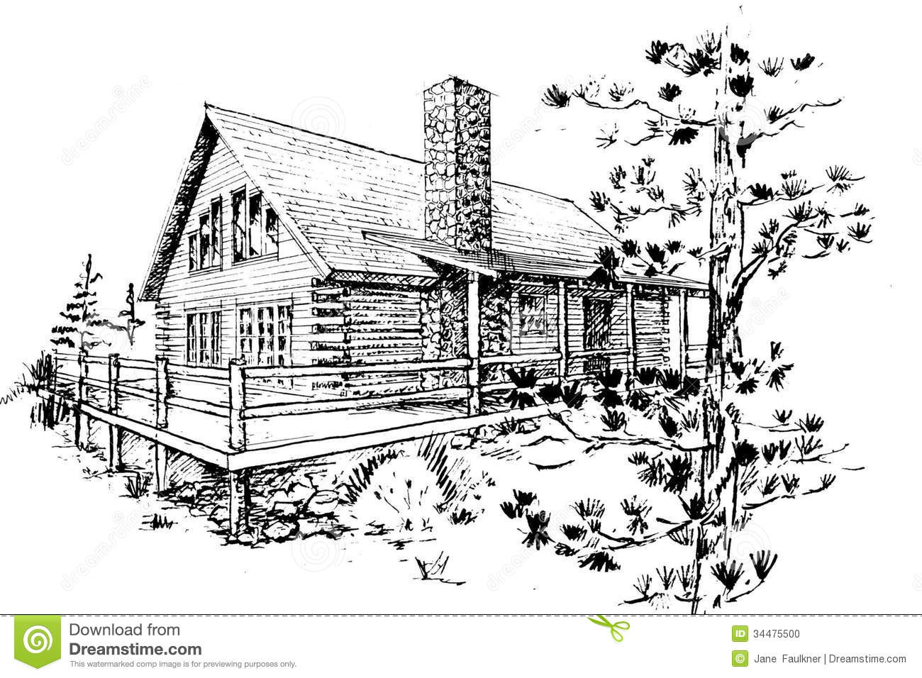 Stock Photo Log House Pen Ink Sketch Contemporary Design Image34475500 on mountain cabin house plans