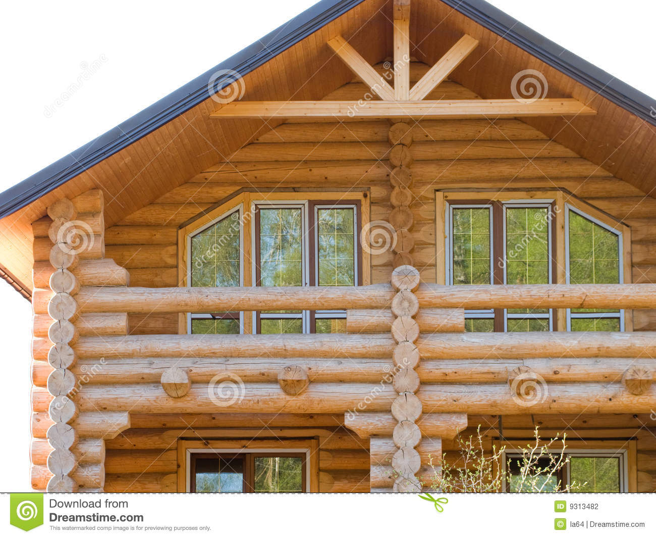 Log House Structure Of Wood Building Home Exterior Stock