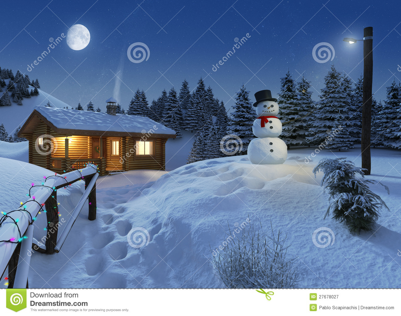 Log house in a winter christmas scene