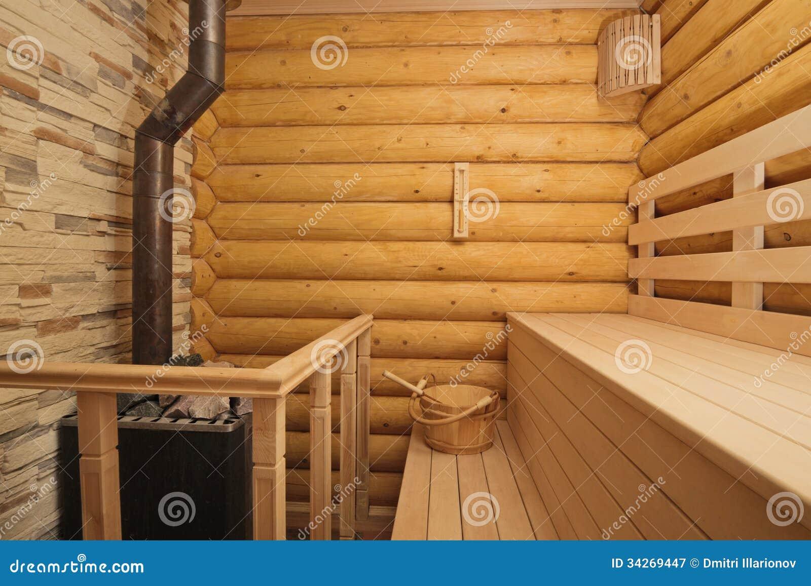 Log Sauna With Heater Stock Image Image Of Leisure