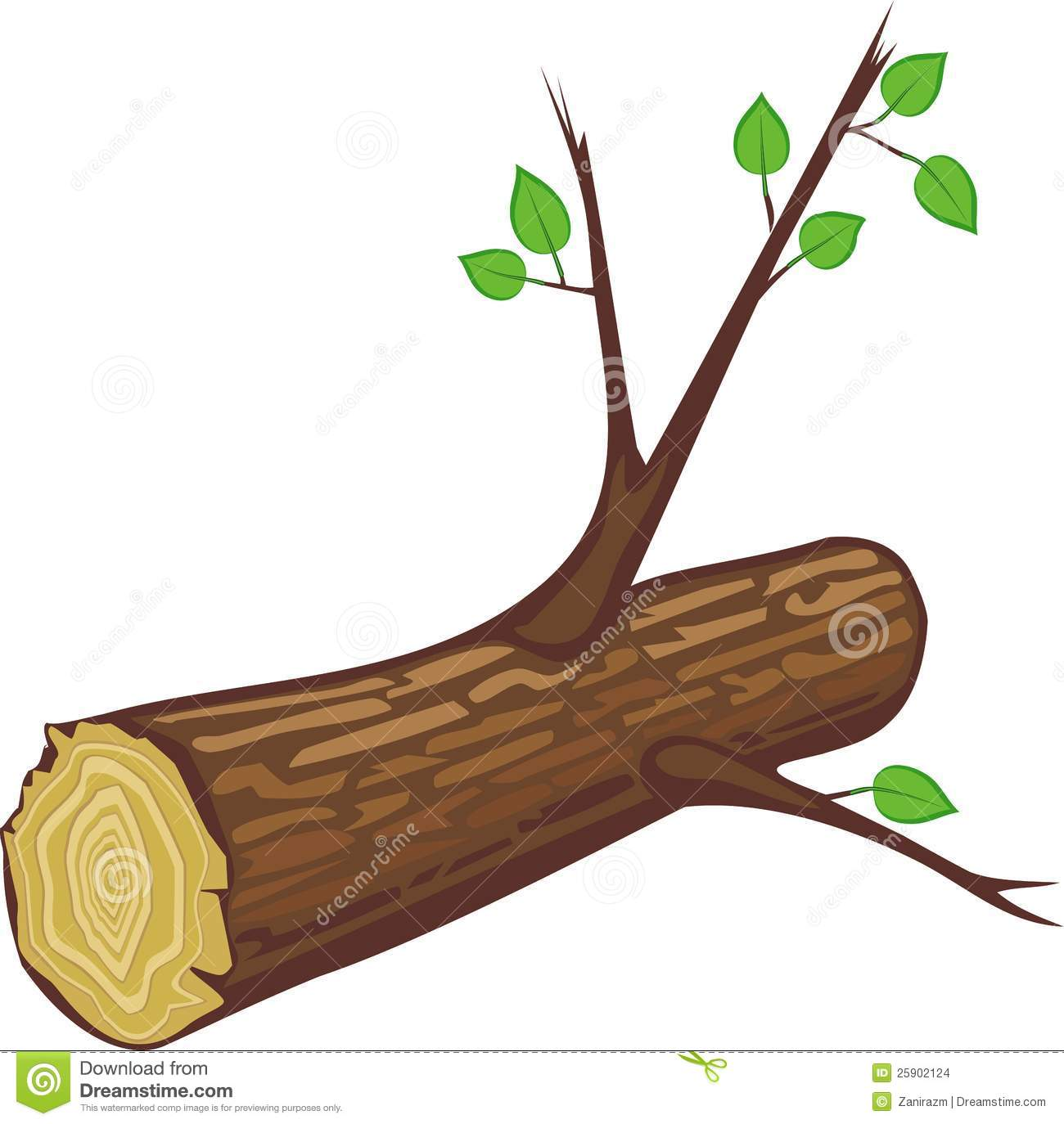 log with branches lying on a white background. On the branches of ...