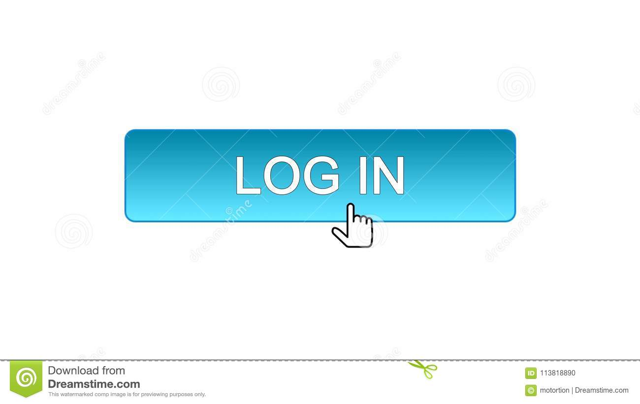 Log In Web Interface Button Clicked With Mouse Cursor, Blue Color