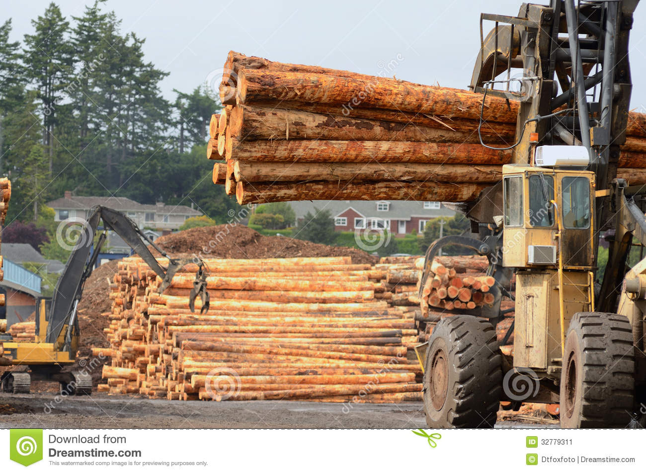 Log yard stock image image of lift sawmill trees mover for Mill log
