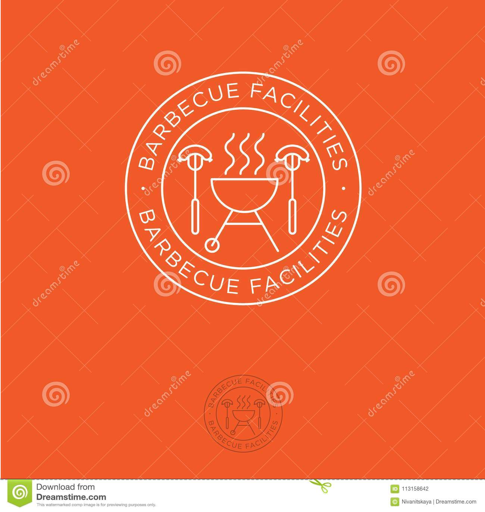 Loga BBQ Udostępnienia dla grillów emblematów Grilla rozwidlenie z kiełbasami na pomarańczowym tle i piekarnik