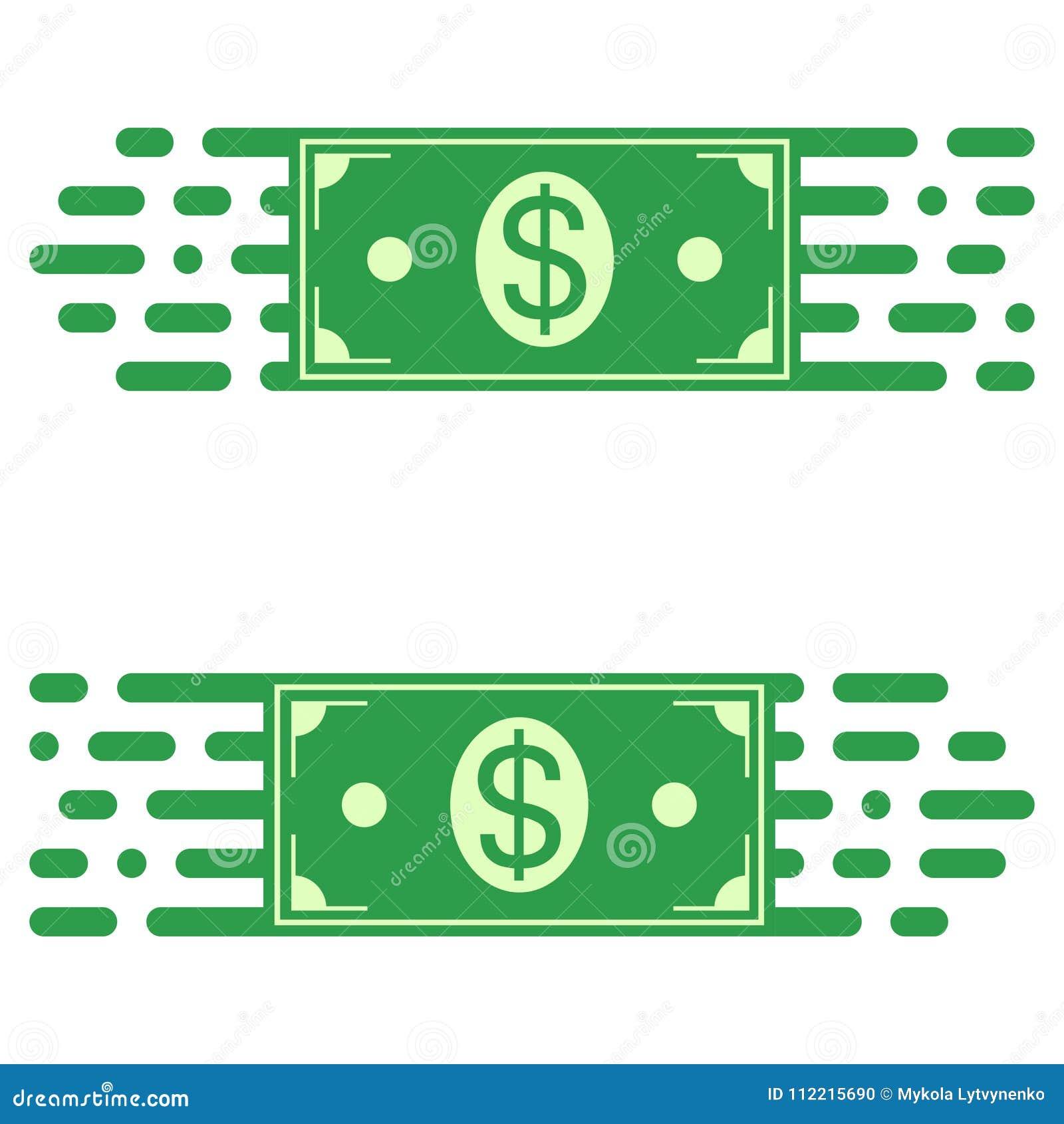 Loga postu przeniesienie pieniądze, dolarowy rachunek w szybkim ruchu wektorowy pojęcie błyskawiczny przeniesienie fundusze