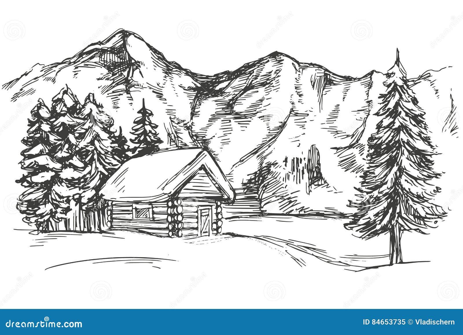 Logez En Montagne Le Croquis Réaliste D\'illustration Tirée ...