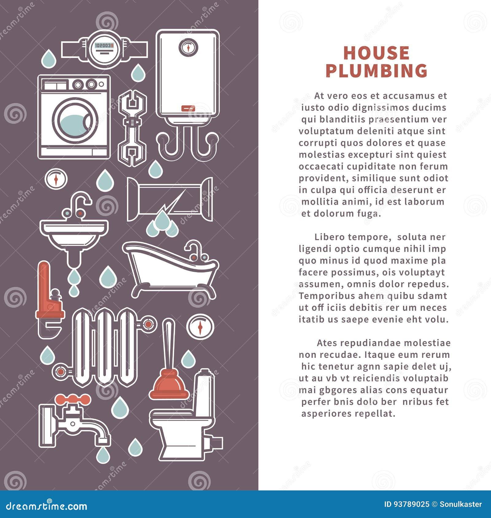 Affiche Salle De Bain ~ logez l affiche de vecteur de tuyauterie ou le calibre d