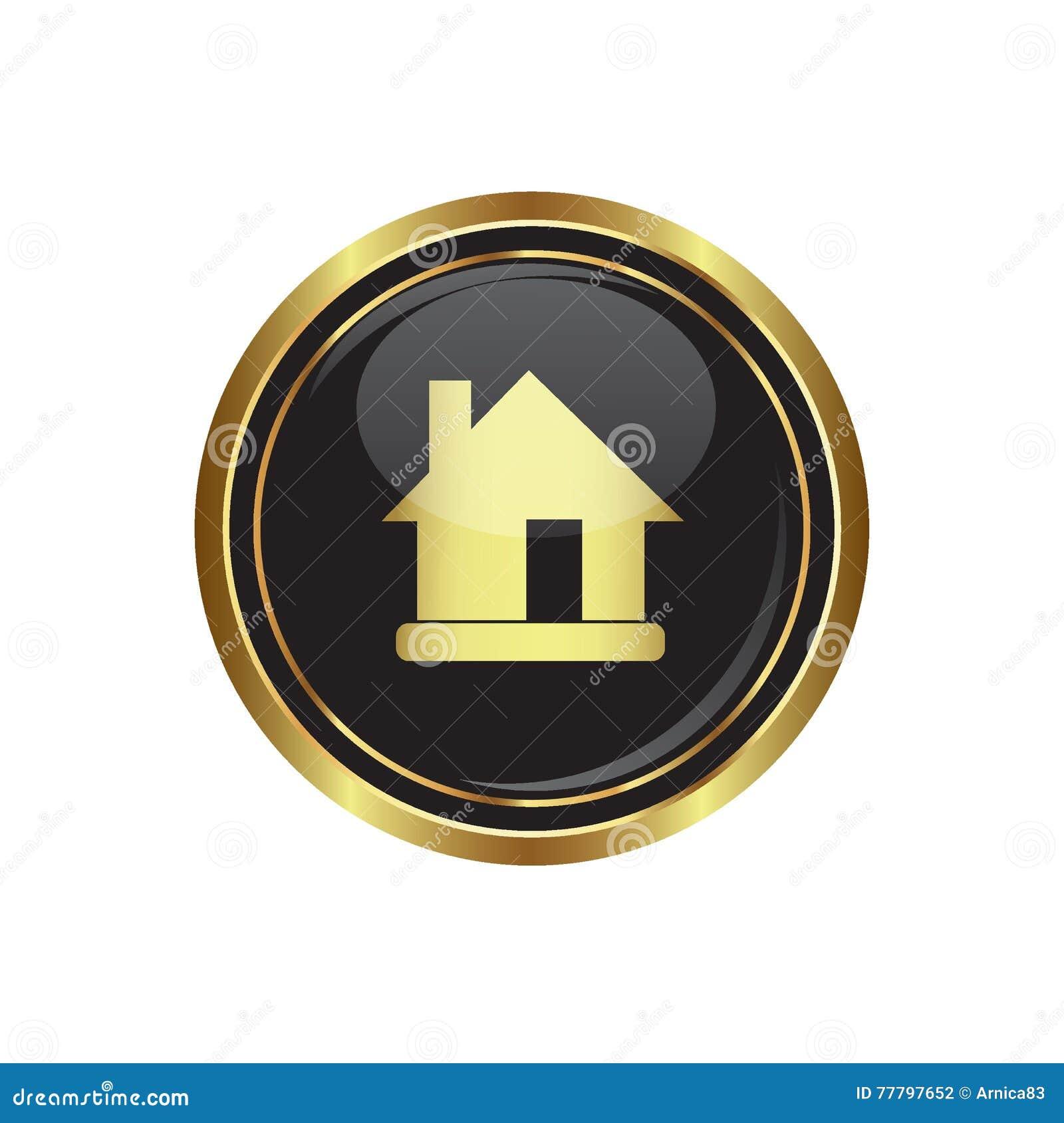 Logez l icône sur le noir avec le bouton rond d or