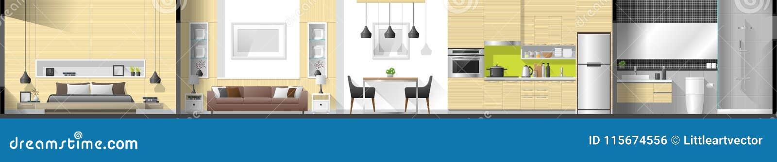 Logez le panorama intérieur de section comprenant la chambre à coucher, le salon, la salle à manger, la cuisine et la salle de ba