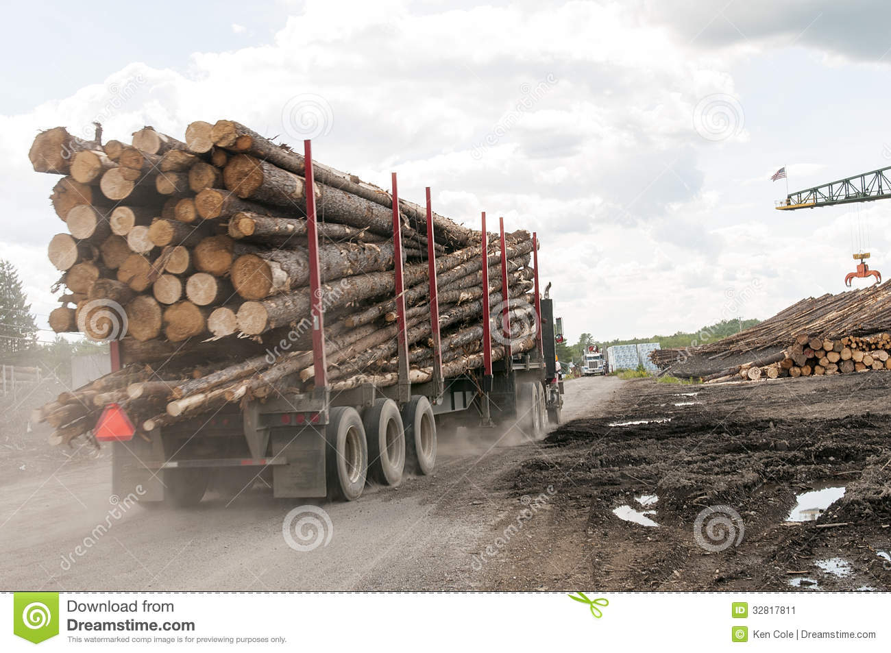 Logging Truck Logs At Mill Stock Image Image Of Large