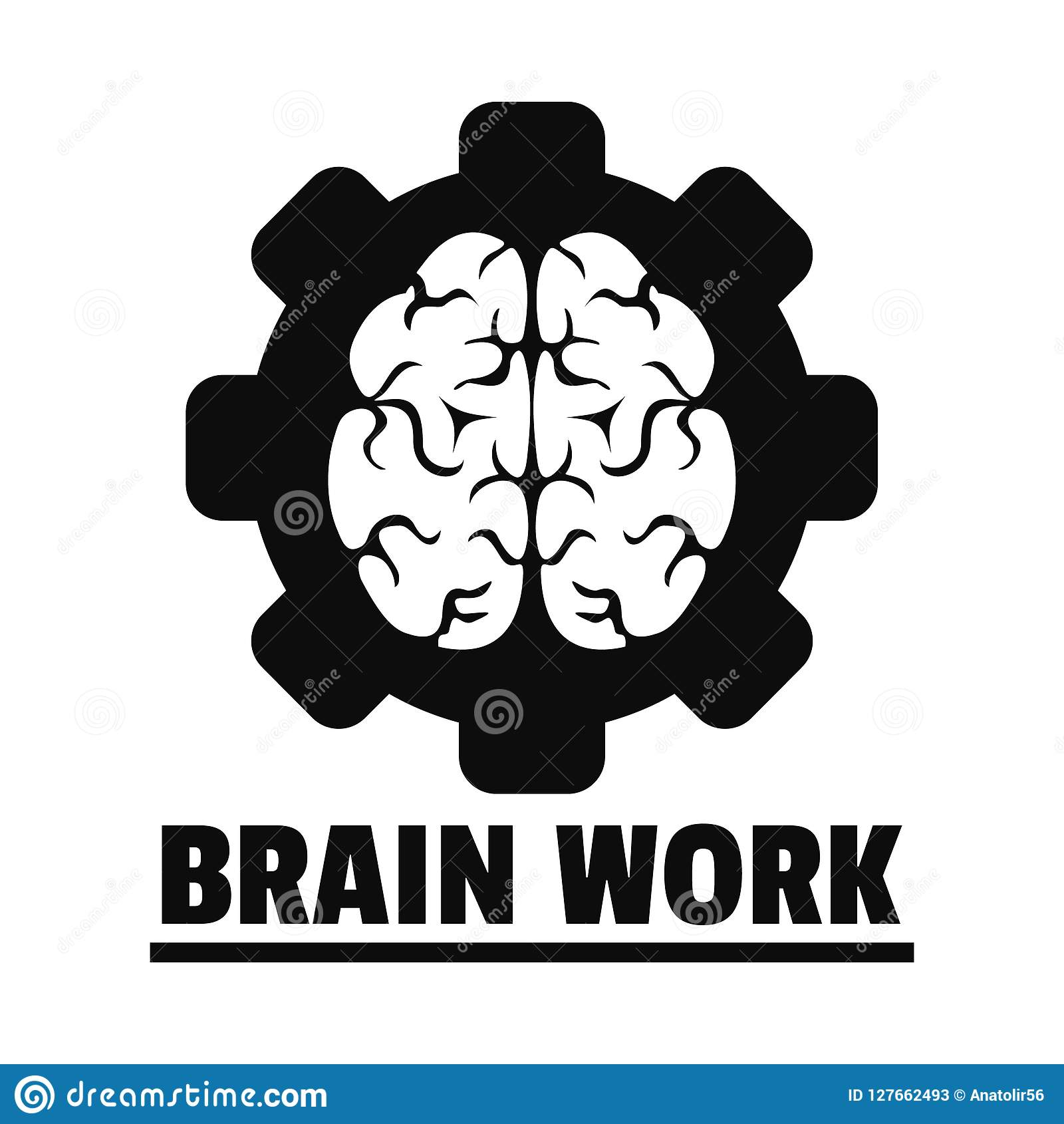 Logic brain work logo, simple style