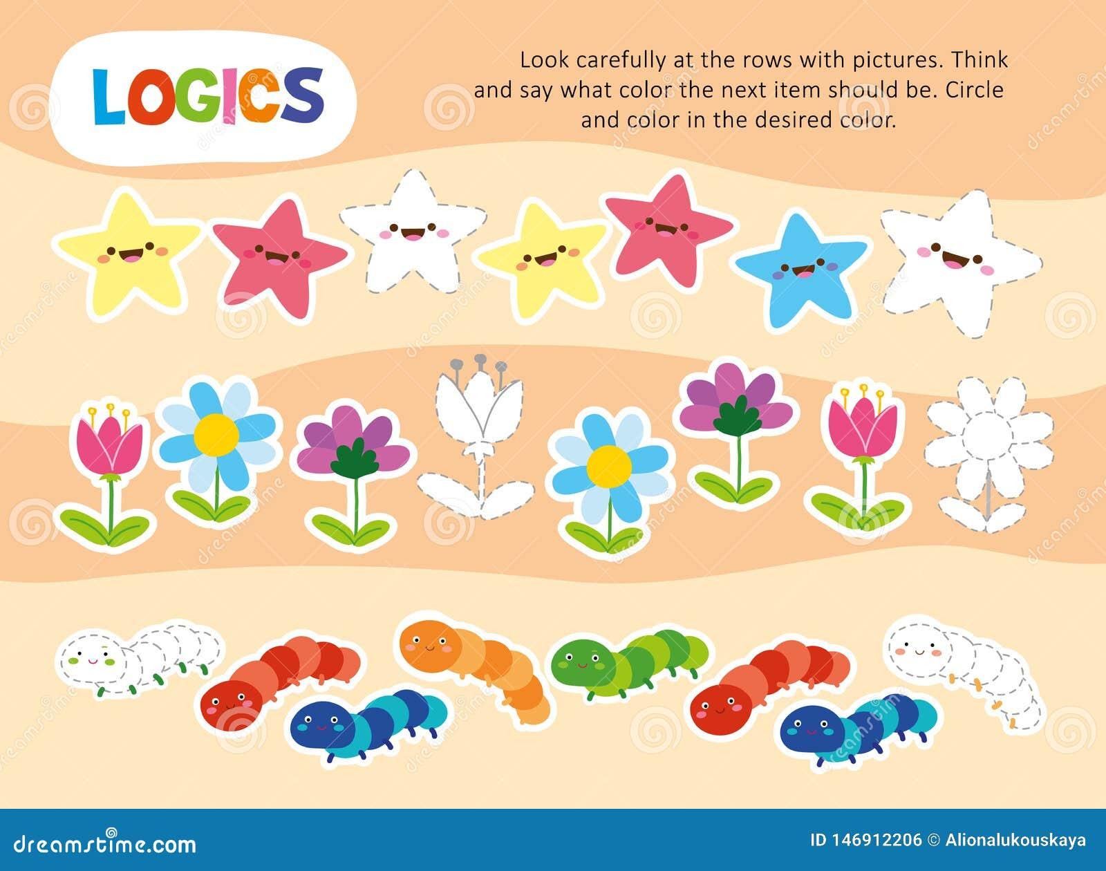 Logic Color Chain Kid Game Printable Worksheet Stock ...