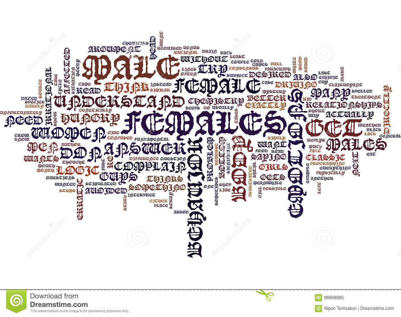 The Logic Of Females Or Lack There Of Text Background Word Cloud Concept