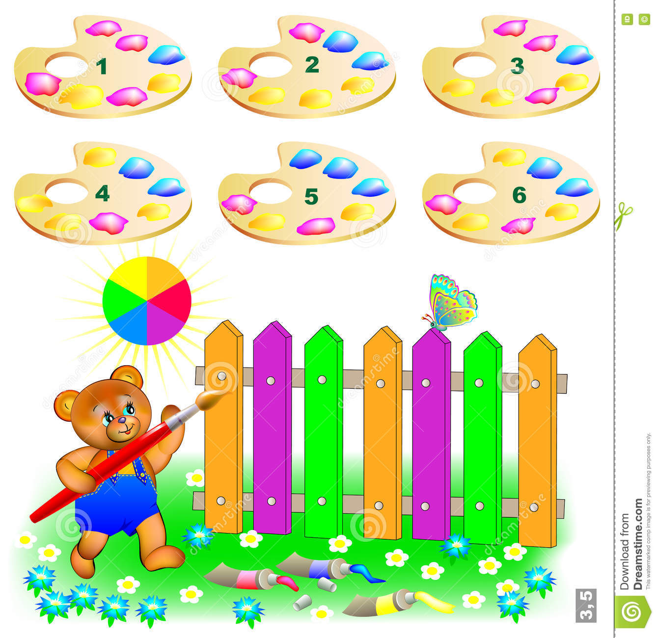 Logic Puzzle. Help The Bear Paint The Fence. Choose Two Correct ...