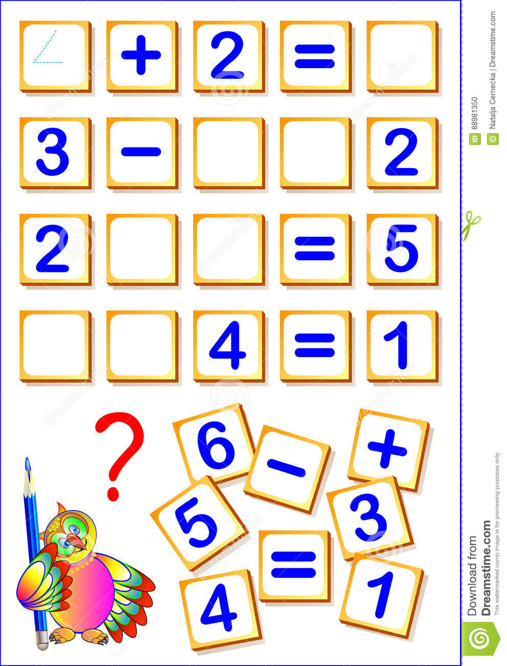Logical Math Exercises For Kids. Need To Find The Missing Details ...