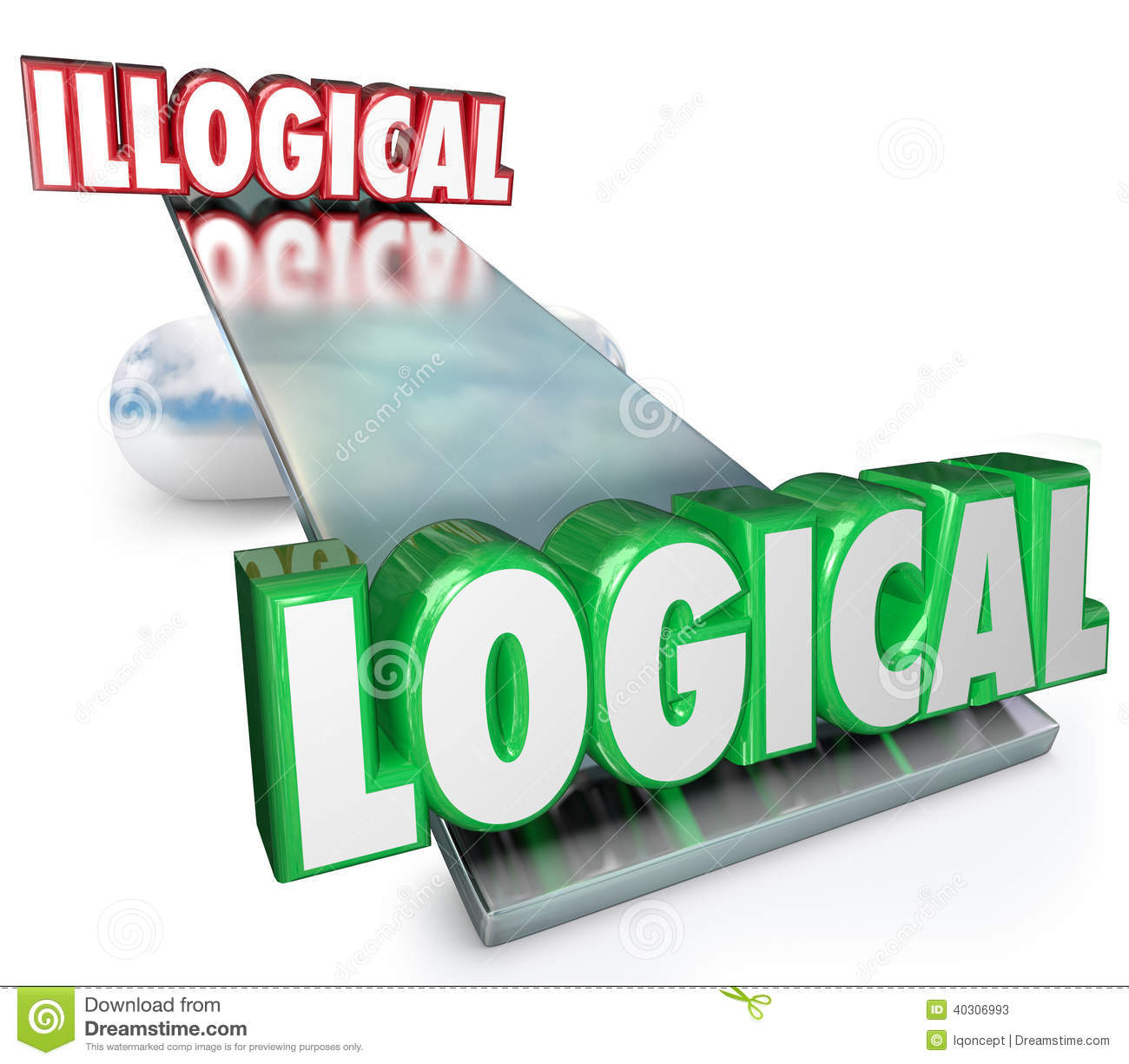 Logical Vs Illogical Words See Saw Balance Scale Stock