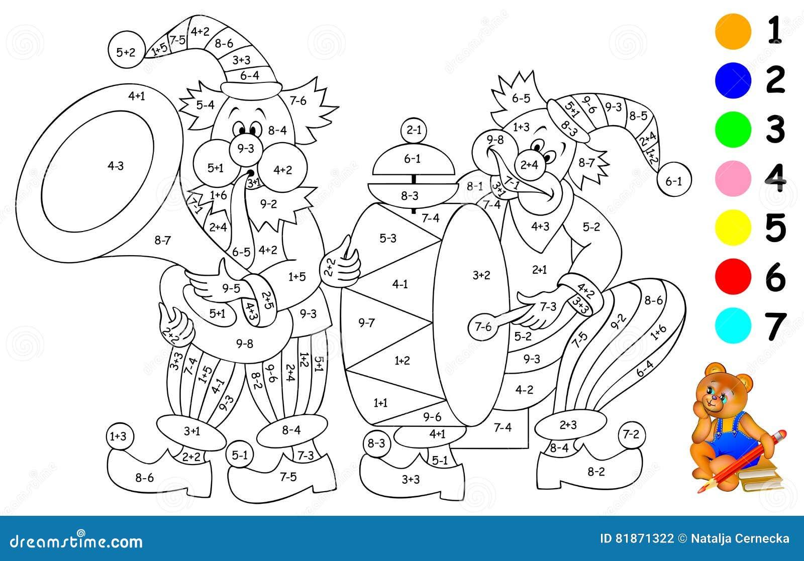 Logikübung Für Kinder Müssen Sie Beispiele Lösen Und Das Bild In Den ...
