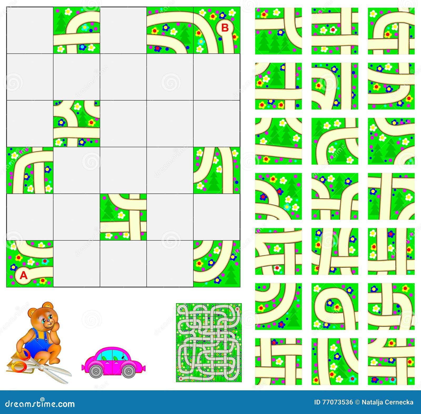 Logiki łamigłówka z labityntem Ciie kwadraty i umieszcza one prawidłowo Potrzebuje przechodzić samochodem od punktu A punktu b
