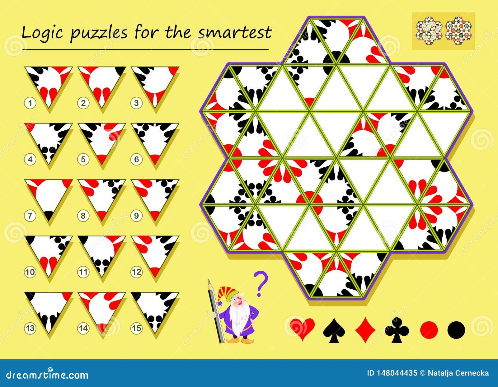 Logikpussellek för att mest smart behov ska finna de korrekta ställena för resterande trianglar och att dra dem