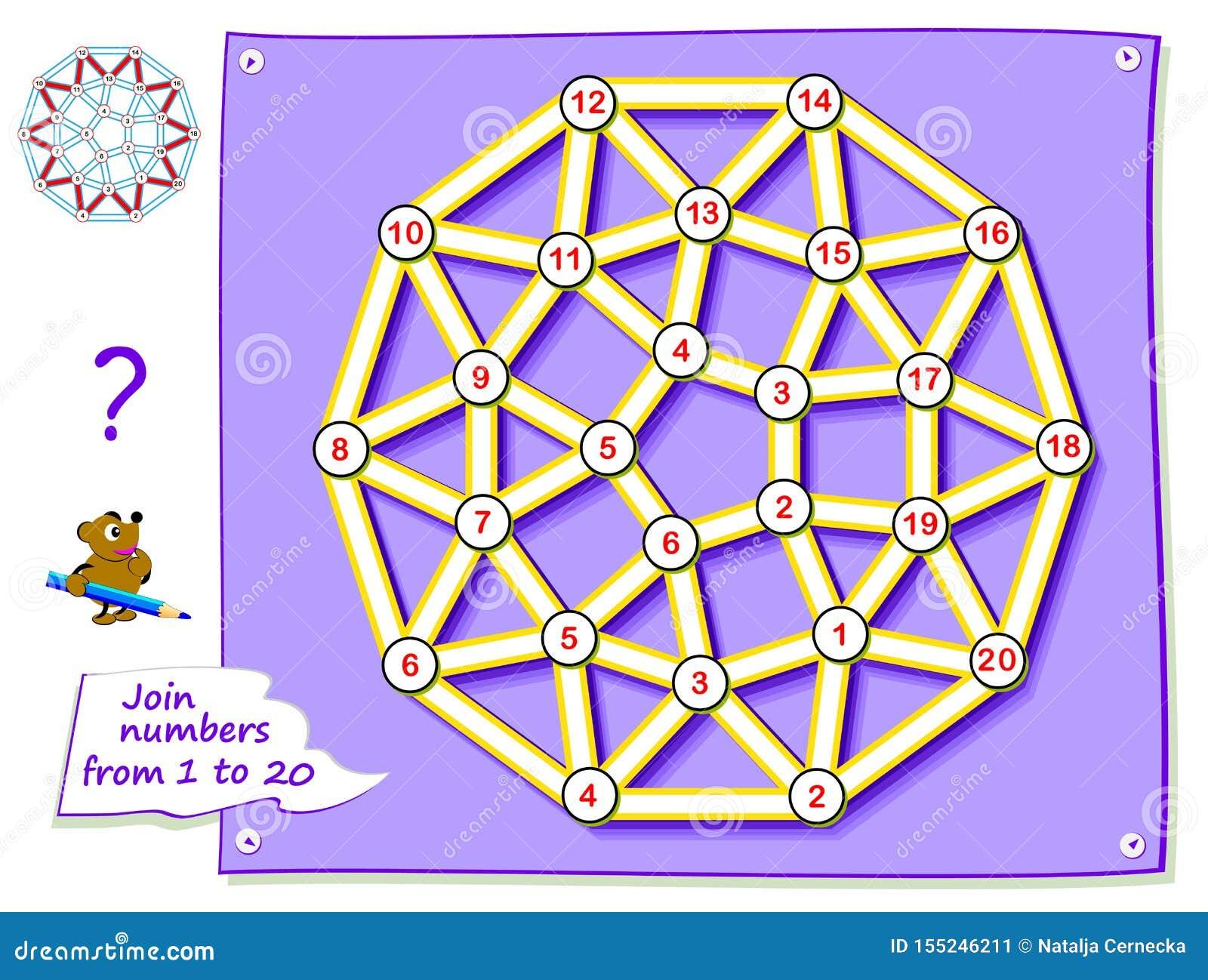 Logikpussellek f?r unga barn med labyrinten Spåra linjen och dra förbindande numren för den magiska stjärnan från 1 till 20
