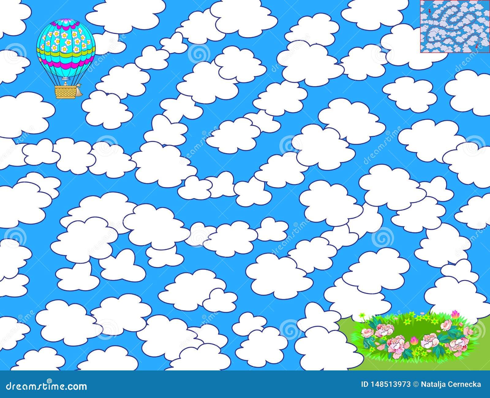 Logikr?tselspiel mit Labyrinth f?r Kinder Helfen Sie dem Luftballon, die Weise zu finden, zwischen die Wolken und das Land in der