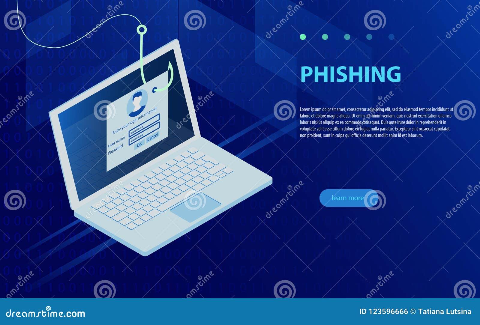 Login Into Account And Fishing Hook  Internet Phishing