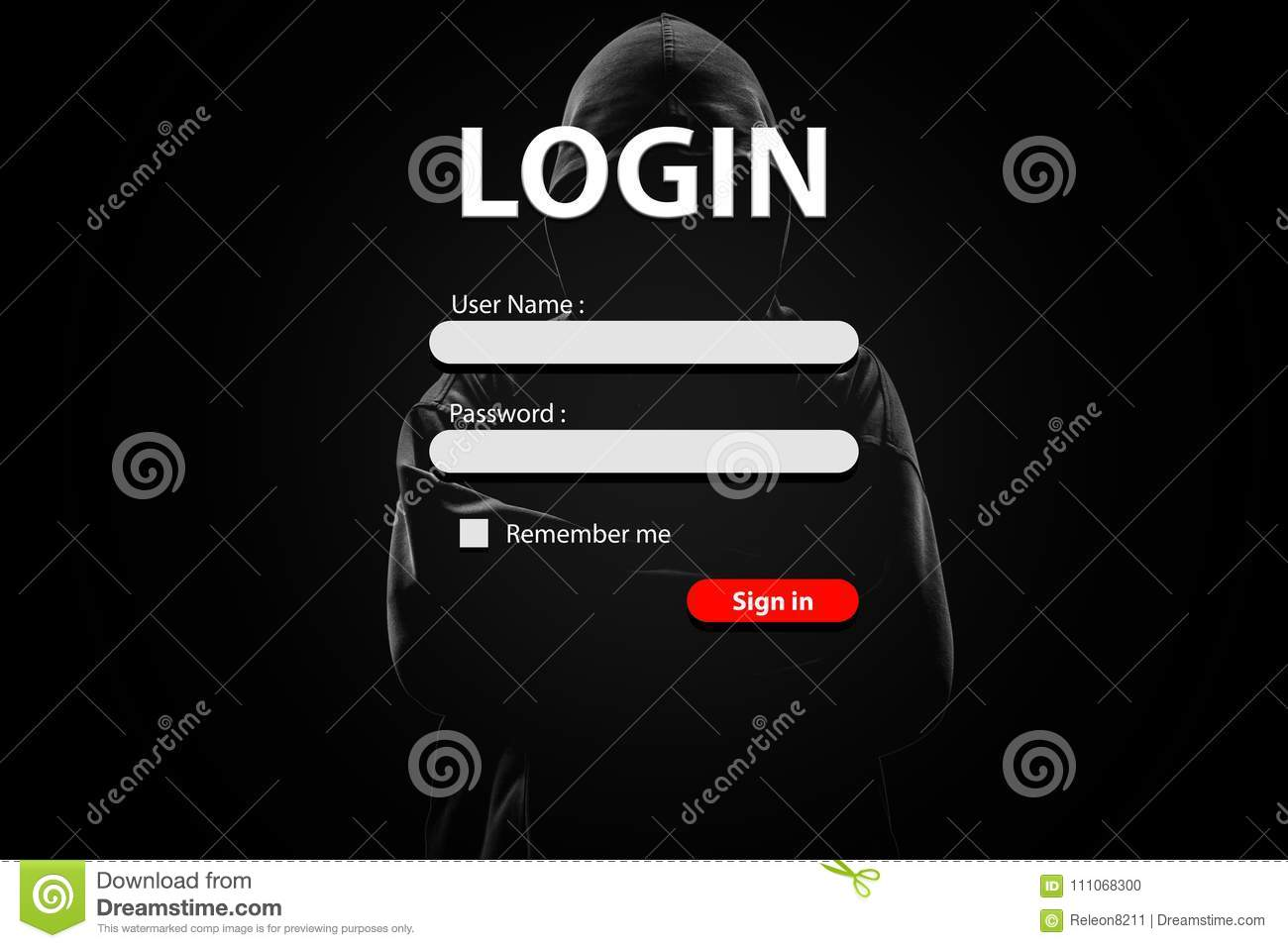 Login Form And Hacker With Lock On Dark Background  Stock Photo
