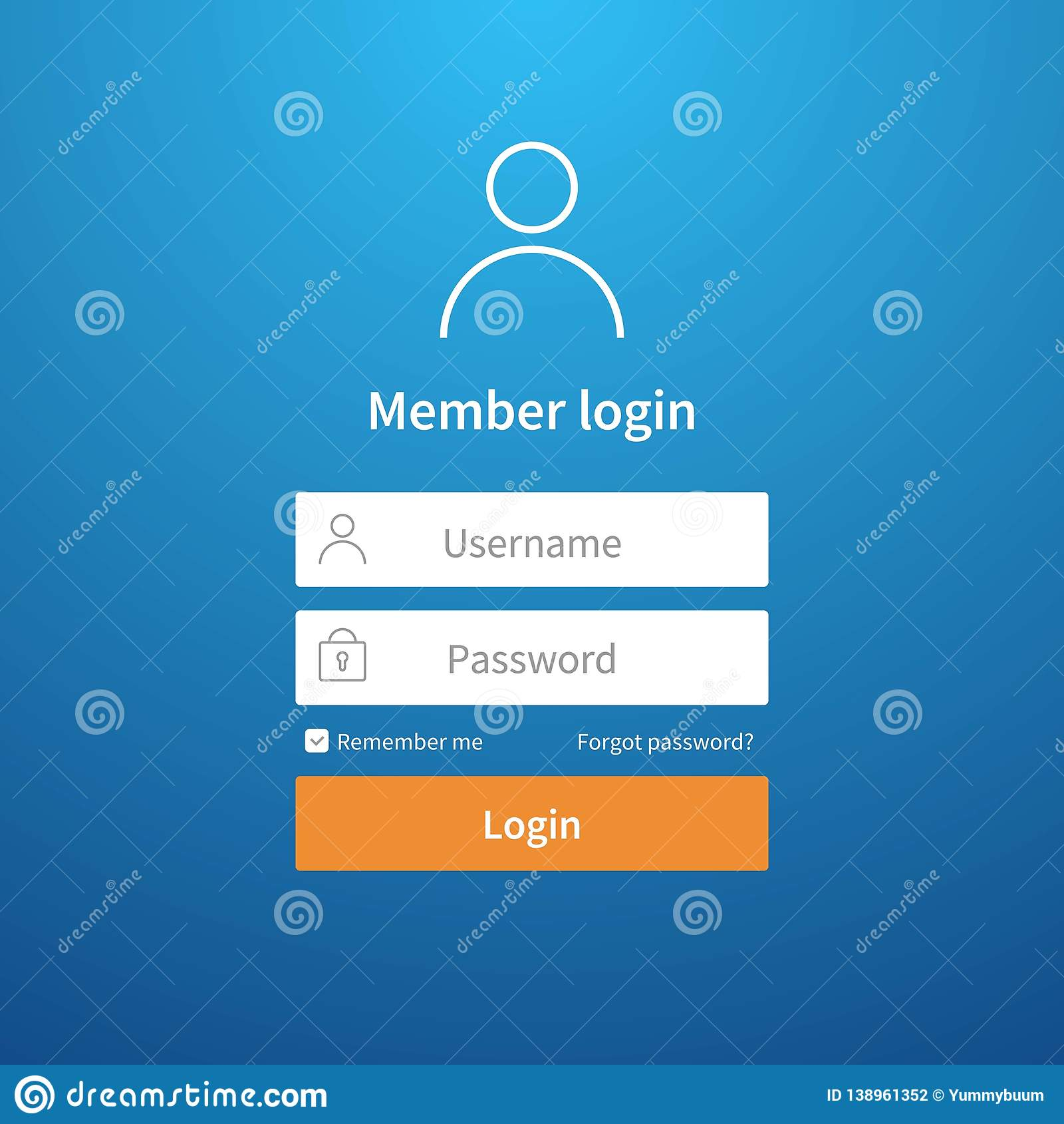 Login form. Website ui account screen page register user interface profile entry submit network vector login template