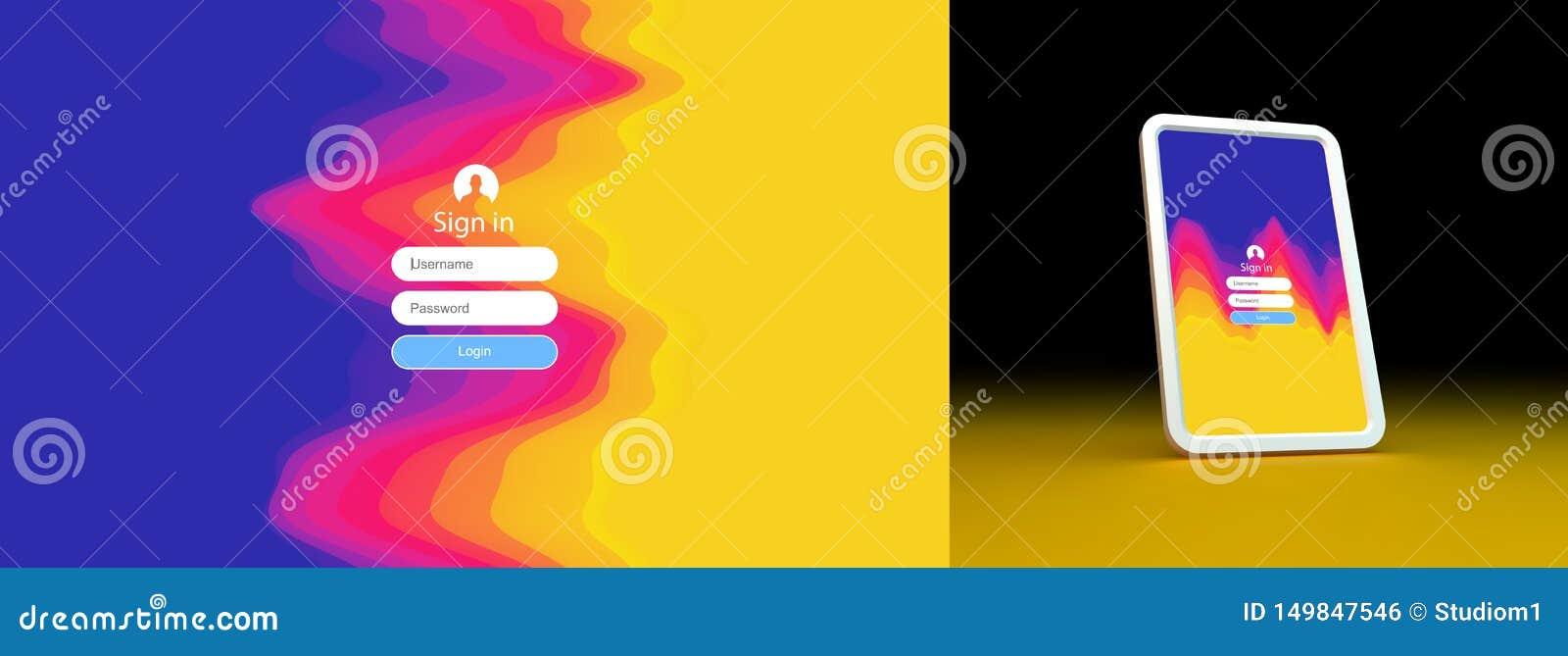 Login gebruikersinterface Modern het schermontwerp voor mobiel app en Webontwerp De achtergrond van de gradi?nt Websiteelement Ve