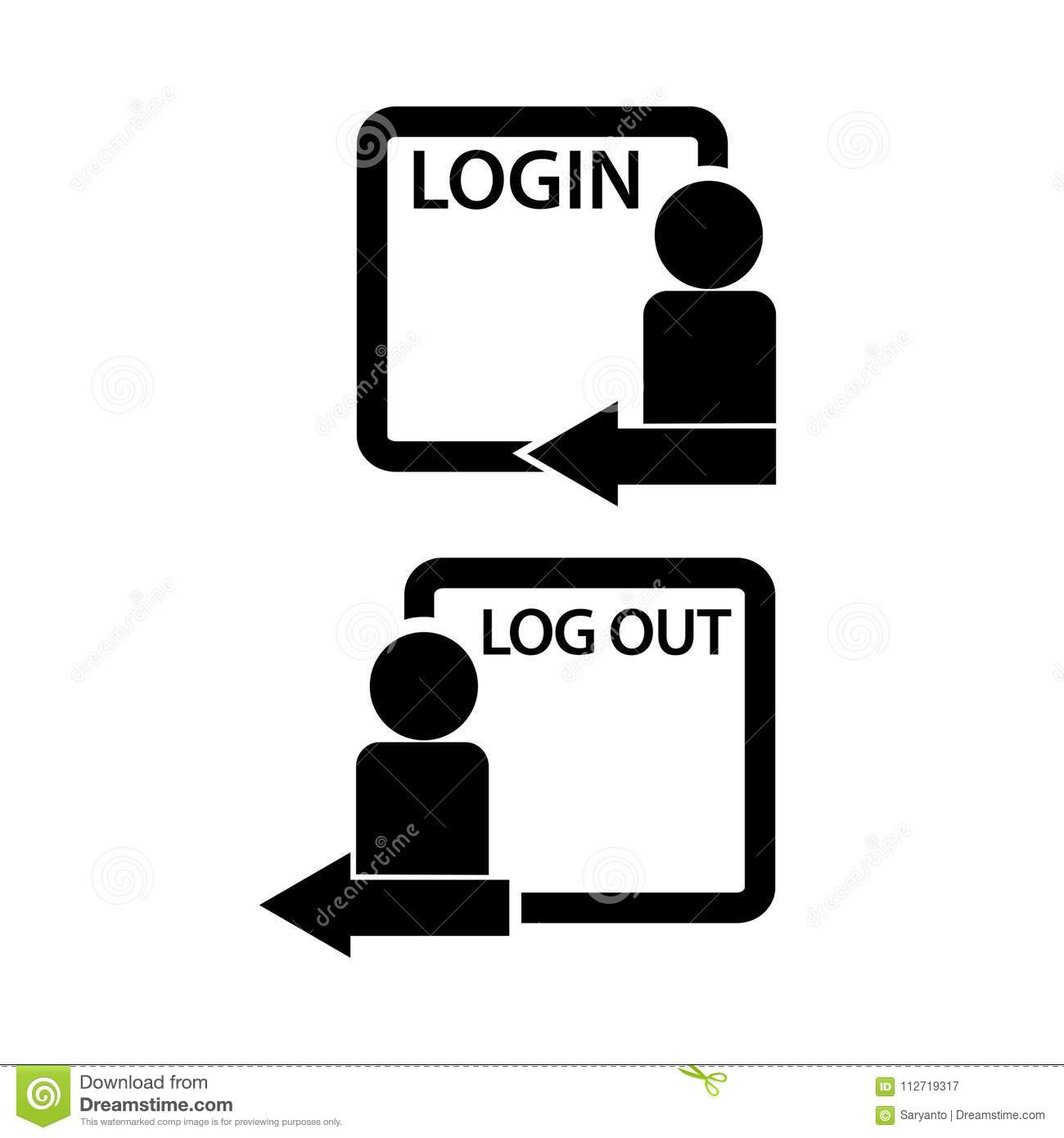 Login and Logout Icon with People and Arrow. Flat Design. Stock ...