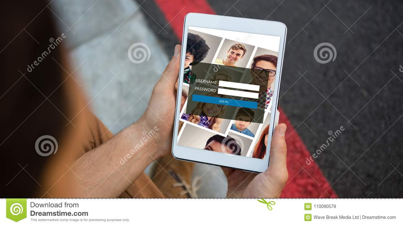composite image of login page stock image image of authentication