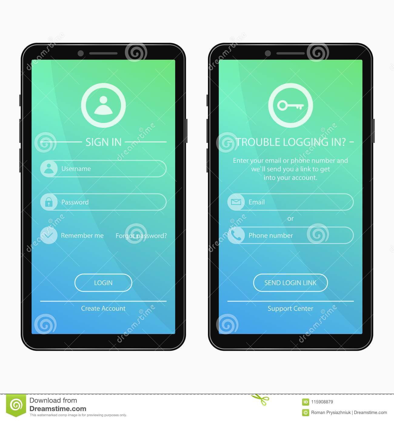 Login page and forgot password form design for mobile app. User interface template for smartphone applications. UI, GUI and UX.