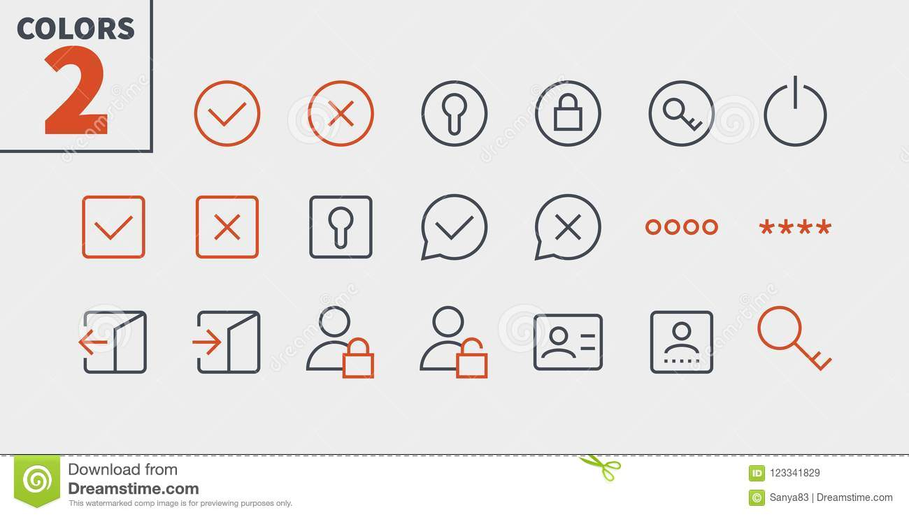 Login UI Pixel Perfect Well-crafted Vector Thin Line Icons 48x48