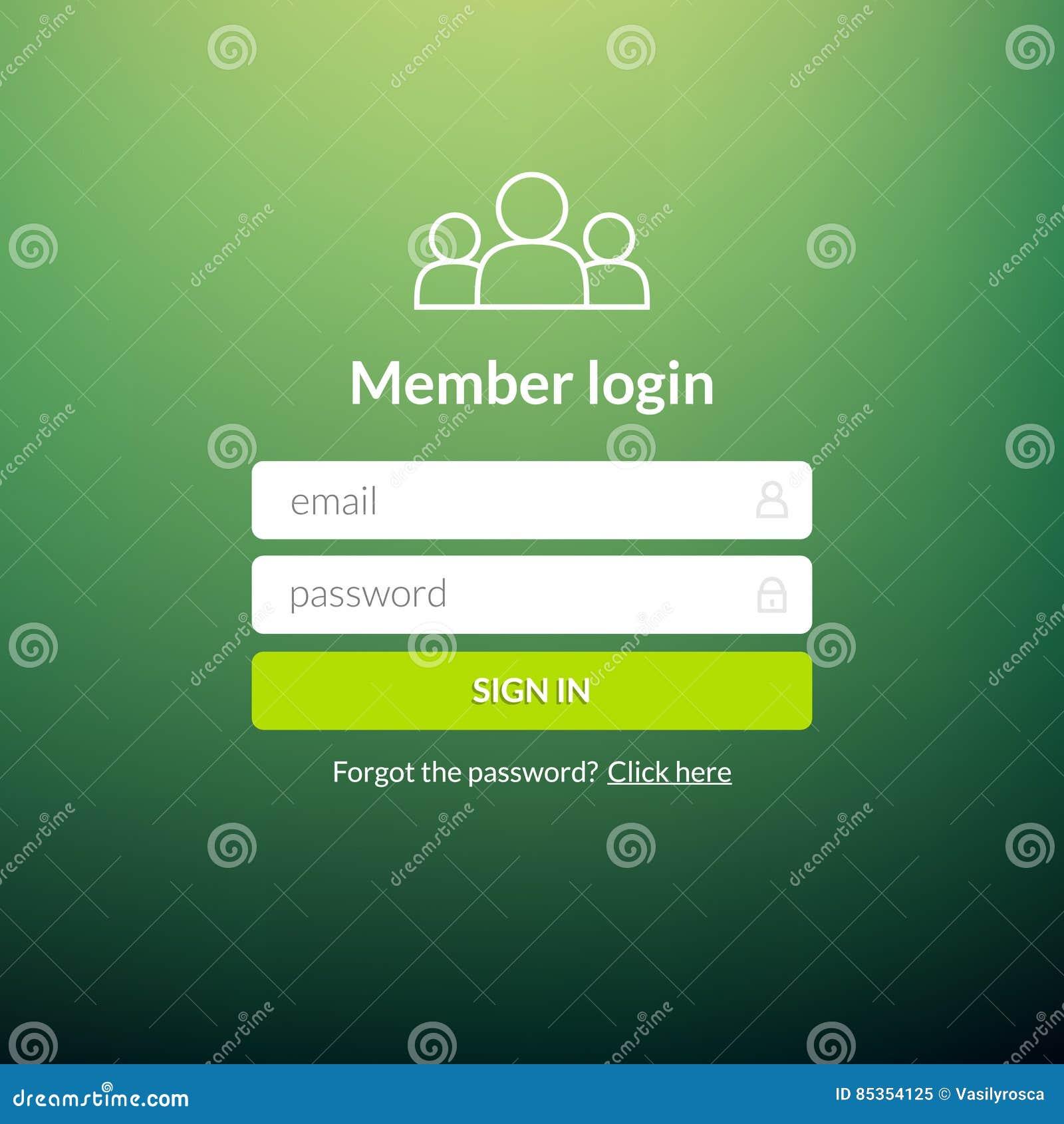 Login User Interface. Sign In Web Element Template Window ...