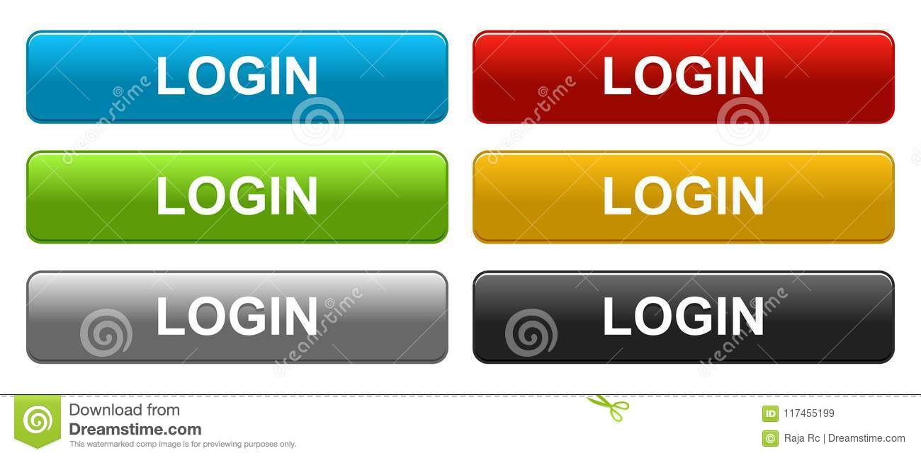 Login web buttons on white stock vector  Illustration of