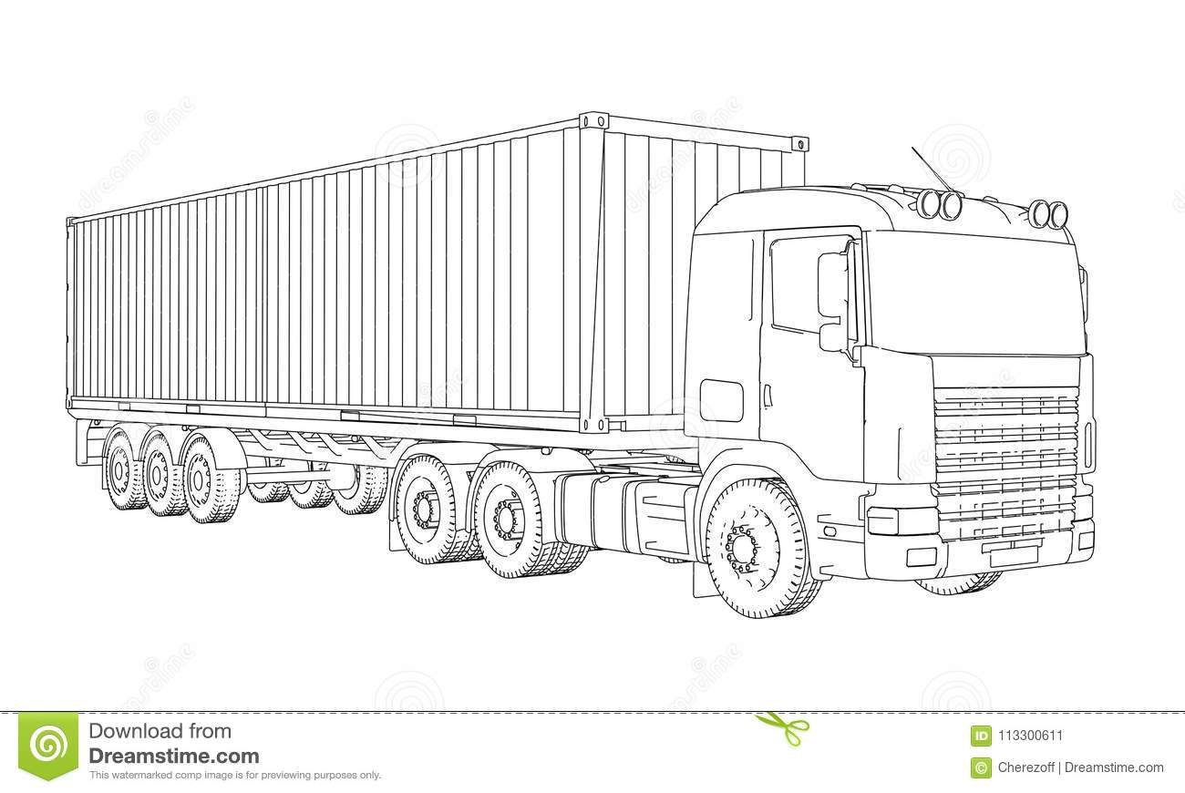Anatomy Of A Semi Trailer : Logistic by container truck stock illustration