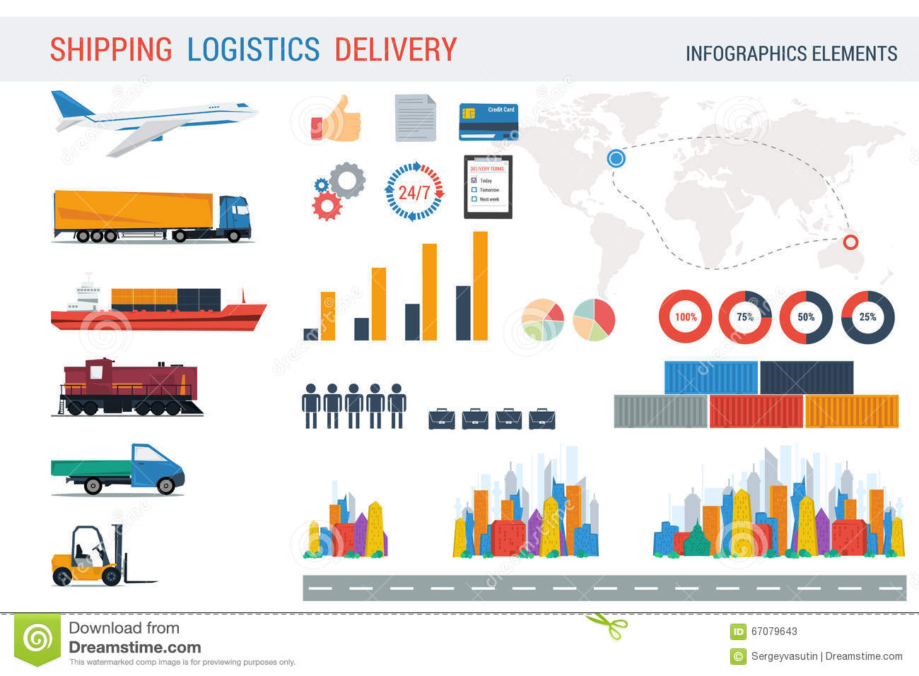 Logistic Elements For Infographic Stock Vector