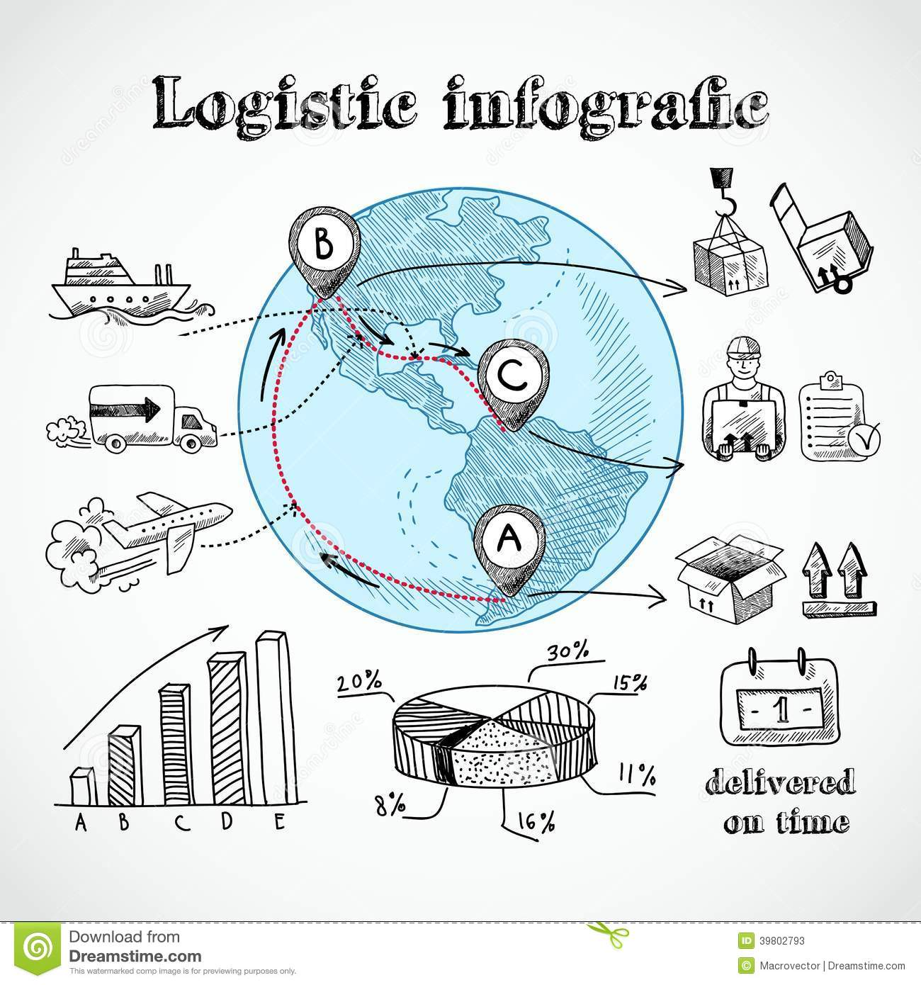 logistic globe infographic stock vector image of check. Black Bedroom Furniture Sets. Home Design Ideas