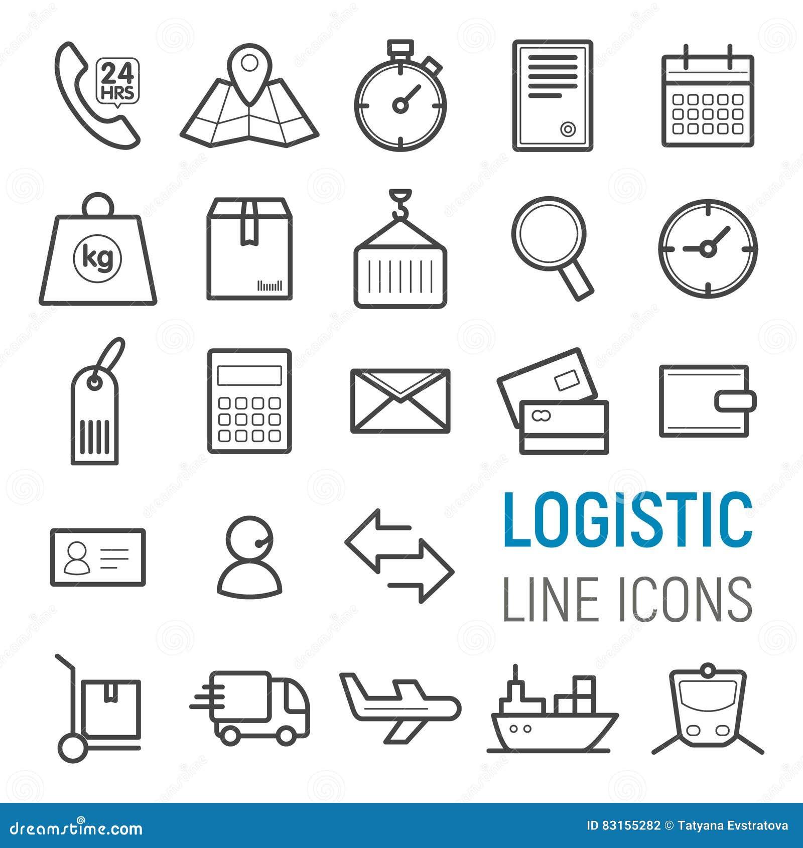 Logistic icons set. Vector flat line illustrations