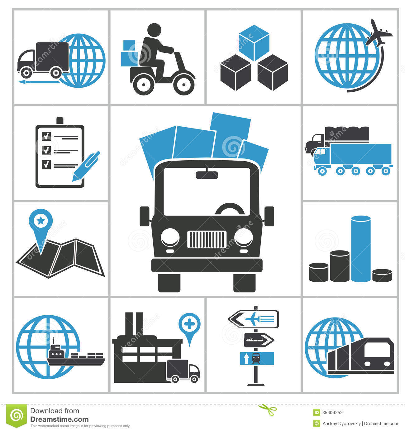 Logistic Icons Stock Photography - Image: 35604252