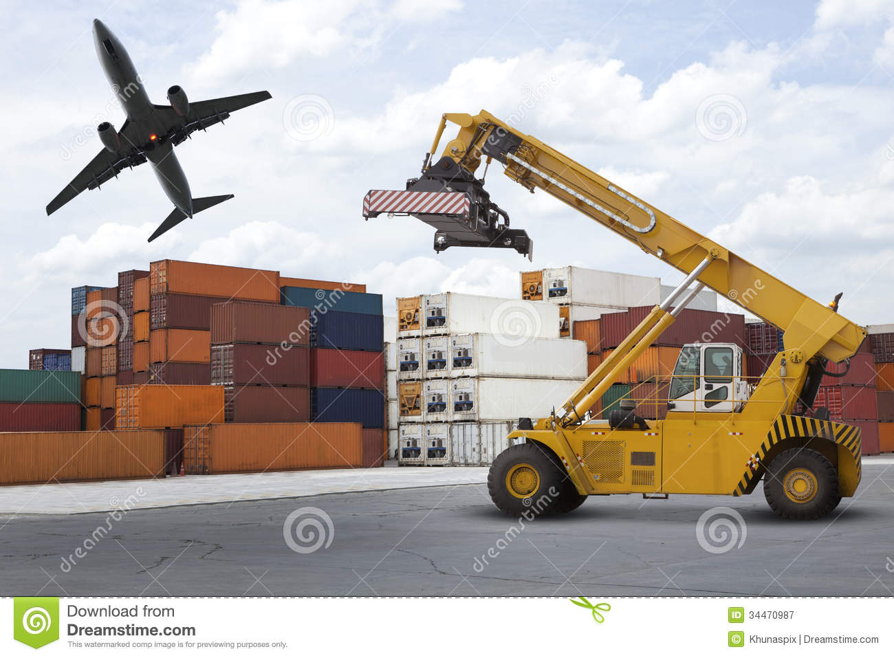 Logistic Industry Port With Stack Of Container Use For