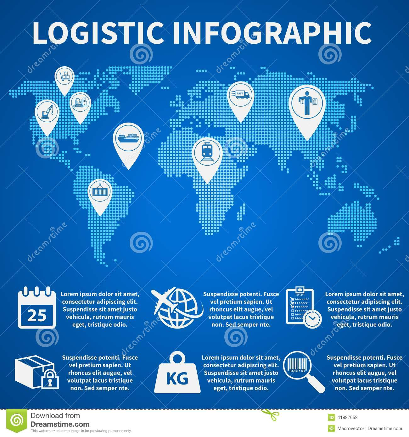 Logistic Infographic Icons Stock Vector Illustration Of